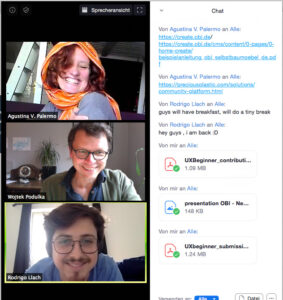 Screenshot of our Zoom Meeting with happy faces after successing in the sprint